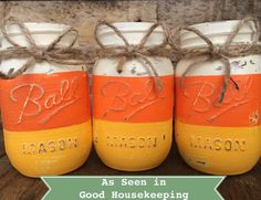 Items similar to Halloween Candy Corn Rustic Chalk Painted Fall Mason Jars on Etsy Halloween Candy Corn Rustic Chalk Painted Fall Mason Jars<br> Mason Jar Art, Fall Mason Jars, Pint Mason Jars, Mason Jar Crafts, Painted Jars, Hand Painted, Mason Jar Projects, Mug Rug Patterns, Halloween Candy