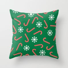 #society6 #throwpillow #pillow #christmas #snow #candies #green #pattern #shop