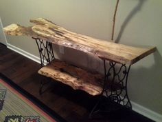 Our raw wood table built on old singer sewing machine legs