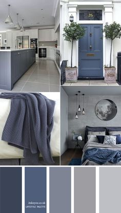 Blue grey home color decor idea { 15 House Color Palette Ideas } 1 - I Take You . Blue grey home color decor idea { 15 House Color Palette Ideas } 1 - I Take You House Color Palettes, House Color Schemes, House Colors, Grey Color Schemes, Grey Living Room Ideas Colour Palettes, Color Palette Gray, Blue Grey Paint Color, Kitchen Color Palettes, Warm Gray Paint