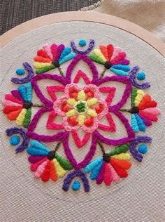 Hand Embroidery Patterns Flowers, Hand Embroidery Stitches, Embroidery Techniques, Embroidery Applique, Cross Stitch Embroidery, Crazy Quilting, Cushion Embroidery, Mexican Embroidery, Punch Needle Patterns