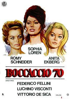 Boccaccio'70(1962)-Inspirando-se no Decameron de Boccaccio, 4 mestres em 4 episódios-comédia sobre a mulher contemporânea: Renzo&Luciana de Mario Monicelli-Casal de operários que, p/não perder emprego, se casa escondido//As Tentações do Dr. Antonio de Fellini-Peppino De Filippo vive moralista obcecado com Anita Ekberg (mulher do outdoor)//O Trabalho de Luchino Visconti-Romy Schneider decide se vingar do marido infiel//A Rifa de Vittorio de Sica-Sophia Loren se oferece para ser o prêmio