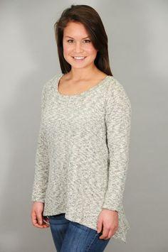 TOPS > Long Sleeve > Grey Knit Crochet Back Swing Sweater