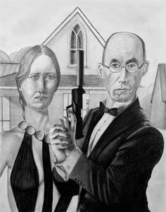 American Gothic 007 Style AMERICAN GOTHIC PARODYGrant Wood