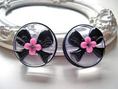 Black Bows plugs for gauged ears 38mm 1 1/2 by DinaFragola