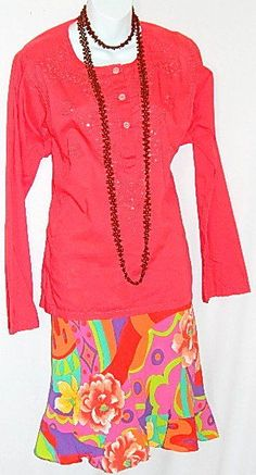 Tommy Hilfiger Blouse Top Tunic Red Long Sleeves Cotton Embroidered and Sequined #TommyHilfiger #Tunic #Casual