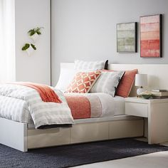 The Storage Bed's platform frame hides six generous drawers, for space-saving storage that's easily accessible, yet completely out of the way. For even more storage space, two coordinating nightstands attach directly onto the headboard and include a drawer of their own.