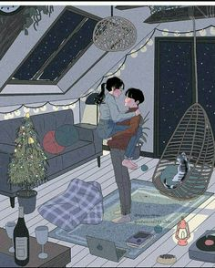 This Korean Artist Giving Serious Couplesgoals Through His Illustration Drawing 642114859351403797
