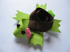 turtle sculpture ribbon hair clippie