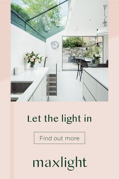 Bring gorgeous natural light and space to your home with Maxlight rooflights Home Interior, Kitchen Interior, Kitchen Design, Kitchen Ideas, Open Plan Kitchen Dining Living, Living Room Kitchen, Luz Natural, Natural Light, House Extension Design