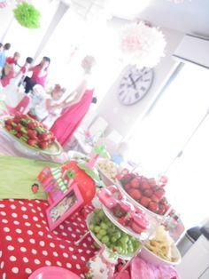 Scarlett's Strawberry Shortcake Birthday Party – Jaimee Rose Interiors Strawberry Shortcake Birthday, Girls Tea Party, Recipe For Teens, Savoury Cake, Party Planning, Birthday Parties, Birthday Ideas, First Birthdays, Party Time