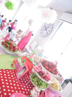 Strawberry shortcake party...so over the top its crazy! What awesome ideas...but can you imagine the cost!
