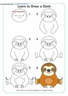 How to Draw a Sloth - Really Easy Drawing Tutorial - #babysloth - Learn to draw a cute sloth. This step-by-step tutorial makes it easy. Kids and beginners alike can now draw a great looking sloth.... Rainforest Creatures, Rainforest Habitat, Cute Baby Sloths, Cute Sloth, Baby Otters, Sloth Drawing, Baby Animal Drawings, Drawing Cartoon Animals, Cartoon Jungle Animals
