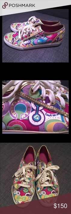 """Coach """"Poppy"""" Sneakers Size 8 Original Coach """"Poppy"""" Sneakers worn only a handful of times have minor scuffs on the sole & gold trim (pictured above) and are very comfortable - just not my style anymore!  They're very colorful and have gold-colored metallic trim and detailing. Main colors are magenta, aqua blue, purple, yellow and green. Coach Shoes Sneakers"""