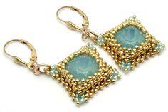 Crystal earrings- blue earrings - gold earrings - Swarovski crystal earrings - beaded earrings - Pacific Opal (blue-green) Swarovski crystal