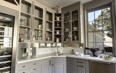 Gwenyth Paltrow's kitchen painted in Galveston Gray by Benjamin Moore