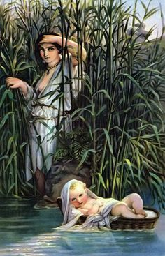 Paul Delaroche >> Moses in the Bulrushes  |  (Oil, artwork, reproduction, copy, painting).