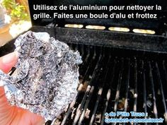 Clean BBQ grill with ball of tin foil works!