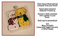 Custom Your Dog Glass ornament  with Snowman 4 by JennysDogArt, $16.00