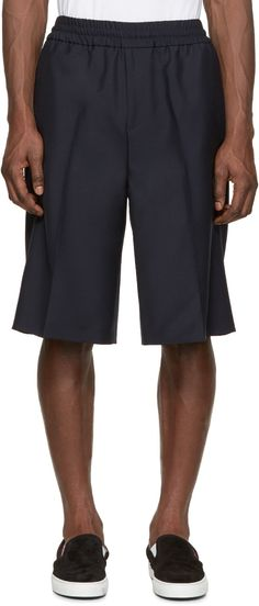 Acne Studios Navy Wool Ryder Shorts