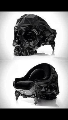 Black skull chair