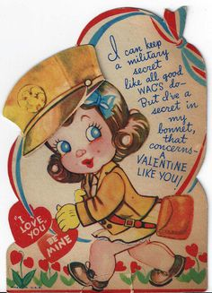 1940s WWII WAC Valentine* Free paper dolls at Arielle Gabriel's The International Papef Doll Society and The China Adventures of Arielle Gabriel the huge China travel site by Arielle Gabriel *