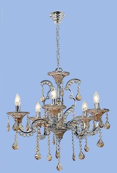 Polished Chrome Chandelier with Amber Acrylic Crystals - 5 x SES Width: Height: Chain: Ceiling Cup: Decor, Polished Chrome, Lighting, Ceiling Lights, Chrome, Chrome Chandeliers