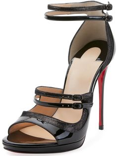 694eda184e7 Christian Louboutin patent leather and suede sandal with glitter trim Suede  Sandals