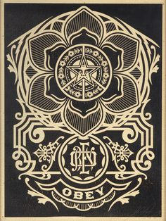 From Julien's Auctions, Shepard Fairey, Obey Peace Ornament Silkscreen on wood, 18 × 24 in
