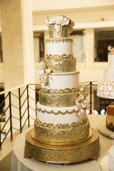 Ivory & Gold Wedding Cake: Who Made The Cake! ~ Photo: D. Jones Photography
