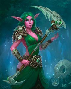 2016-10-25 Nelf druid by lowly-owly on DeviantArt