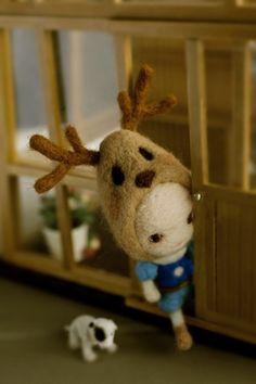 羊毛毡 鹿角娃