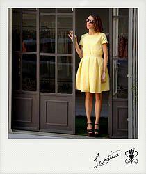 top, gonna, skirt, pieghe, jacquard, maniche, giallo, yellow, femminile, fashion, Ladies Clothing, abbigliamento