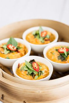 STEAMED RED CURRY FISH  This recipe is based on a Thai dish called haw mok plaa. Traditionally the fish mixture would be wrapped up in banana leaves before being steamed but using small ramekins or bowls makes for an easier alternative. You'll need a large bamboo or metal steamer for this recipe.