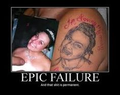 40 Ridiculous Tattoo Fails That Are So Bad They're Hilarious I made a promise to myself a long time ago that I would never get someone's face tattooed on my… Tattoo Fails, Epic Tattoo, Get A Tattoo, Worlds Worst Tattoos, Foto Fails, Really Bad Tattoos, Crazy Tattoos, Dream Tattoos, Bad Tattoos