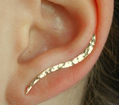 Ear Pin - Hand Hammered Wave - 14K Gold Filled or Sterling Silver