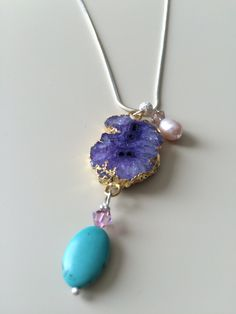Hey, I found this really awesome Etsy listing at https://www.etsy.com/listing/289279921/purple-geode-necklace-purple-agate-geode