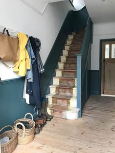 hallway decorating 569283209148104092 - Our unfinished hallway and need for storage – Apartment Apothecary Source by lanapailhesarab Victorian Hallway, Home Renovation, House Interior, Home, Under Stairs Cupboard, Blue Hallway, Dado Rail, Painted Stairs, Hallway Decorating