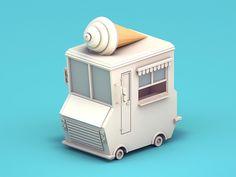 Low poly ice cream truck