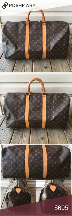 💯Authentic Louis Vuitton Keepall 55 Authentic. Date code:  FH8912, Made in France. GOOD CONDITION. Canvas has no stains or tears. Vachetta leather is a medium patina with creases, scratches.  Metal fittings have some tarnish. Zipper works properly. No musty odor.  Lining is clean. No dust bag. ~NO TRADES•NO OFFERS IN COMMENTS~ Louis Vuitton Bags Travel Bags