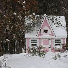 Little pink house for you and me.  In winter ~ oh so shabby chic!  It's perfect!