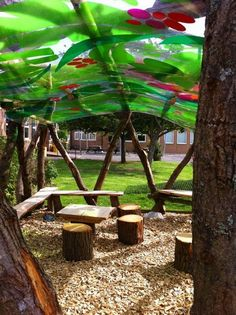 Our bespoke outdoor classroom designs provide a stimulating learning environment. Protected from the elements by a UV protected outdoor classroom canopy. Outdoor Education, Outdoor Learning Spaces, Outdoor Play Areas, Outdoor Fun, Physical Education, Eyfs Outdoor Area, Outdoor Shade, Waldorf Education, Outdoor Games