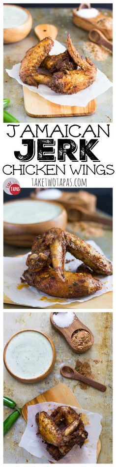 Baked crispy chicken wings dusted with Jamaican Jerk Seasoning are the perfect start to any party! Flavored with allspice, cinnamon, and spicy cayenne, they will get your mouth watering! Jerk Seasoned Chicken Wings Recipe | Take Two Tapas