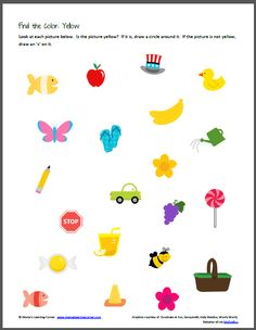 Color Recognition: Find the Color Yellow Kindergarten Colors, Preschool Colors, Free Kindergarten Worksheets, Preschool Learning Activities, Color Activities, Toddler Preschool, Fun Learning, Math 4 Kids, Alphabet Tracing