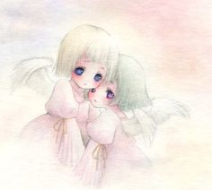 ✮ ANIME ART ✮ pastel. . .watercolor. . .angels. . .big eyes. . .short hair. . .matching dresses. . .faded background. . .cute. . .kawaii