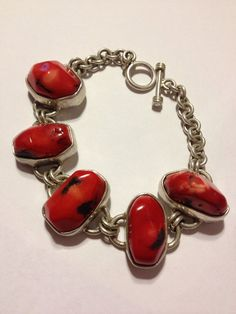 "Red Coral Bracelet 54.8 Grams Sterling Silver 8"" Genuine 925 Handmade Artisan Link Toggle Vintage Jewelry Southwestern OOAK Modern Huge Gift on Etsy, $135.00"