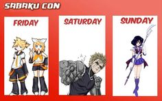 My official Sabaku con lineup! I will definitely be going Friday and Saturday but Sunday I'm unsure.  Me and Noah will be Rin and Len on Friday afternoon in our complete costumes. Saturday we are going all out as Genos and Speed o sound Sonic. I'm super excited for this con hope to see you all there! - - - [ #Anime #manga #otaku #onepunchman #Genos #Sabakucon #sabakucon2016 #genoscosplay #saitama #SailorMoon #attackontitan #fairytail #Bleach #blackbutler #Hetalia #KillLaKill #SoulEater…