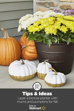 Discover fall outdoor essentials from Better Homes & Gardens at Walmart. #fall #frontporch #outdoor #planter #mums #frontporchdiy #falldecor #homedecor #frontporchideas #frontporchdecor