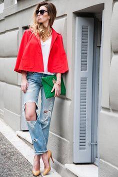 MuseRebelle | Color Blossom editorial: Stephan Janson cape, Levi's jeans, Louboutin pumps, Velvet t-shirt, Wylde clutch, and Illesteva sunnies