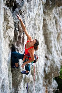 Nina Caprez on the first pitch (5.12c) of Lost in Translation, a four pitch (5.13b). Photo by Sam Bie